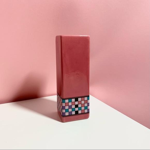 Vintage checker vase